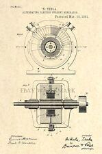 1891 Nikola Tesla Alternating Electric Current Generator Patent Art Print - 4