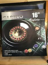 Deluxe Poker 16-Inch Roulette Wheel Casino Game Table Set with Accessories New