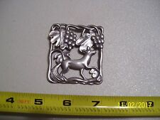 LARGE VINTAGE STERLING SILVER FOX / FOXY / GRAPEVINE BROOCH / PIN & FREE SHIP