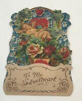 Vintage Victorian Die Cut Valentine's Day Card Cupid Angel Honeycomb Pull Down