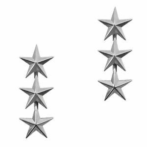 Pair U.S. Army Officer Rank Insignia Lieutenant General Three Star Badge Pins