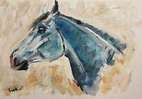 Print from Original oil painting art blue horse contemporary blue decor equine