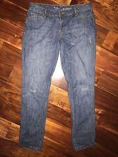 The Limited Denim Boyfriend Blue Jeans Size 2 Straight Leg Slightly Distressed