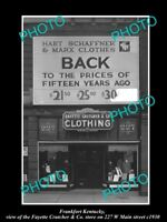 OLD LARGE HISTORIC PHOTO OF FRANKFORT KENTUCKY, THE FAYETTE CLOTHING STORE c1930