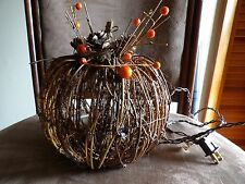 Pumpkin Fall decoration  lights new works vines pine cones orange berries