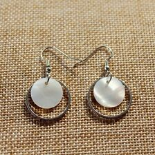 Beautiful Natural Shell Slice Drop Silver Plated Dangle Hoop Earrings