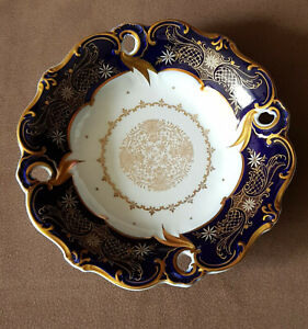 Weimar Porzellan Teller Zierteller Schale Prunk-Schale Kobalt Gold