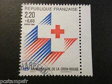 FRANCE timbre 2555a, croix rouge de carnet, oblitéré