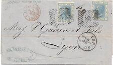 P3920   TORINO per Lione, annullo numerale a punti 1868