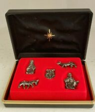 Miniature Nativity Set 5 Pieces Metal Holy Family Cow Donkey Figurine Travel Box