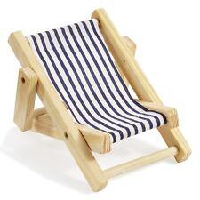 Deko Mini Liegestuhl 15 x 10 cm blau wei�Ÿ Urlaub Ferien Holiday Reise Gutschein