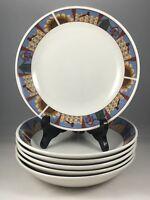 "6 Majesticware by Sakura Leslie Beck 1999 Picket Fences 8"" Soup Cereal Bowls"