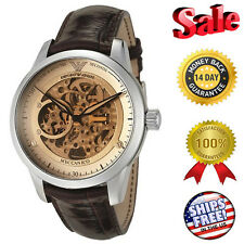 Emporio Armani Meccanico Brown Leather Strap Automatic Mens Watch AR4627