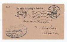 1961 Cover OHMS Royal navy Shore Establishment HMS VERNON Portsmouth & Southsea