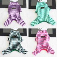 Jumpsuit Stripe Pet Dog Puppy Pajamas Autumn Clothes Sleepwear Teddy Winter Cat