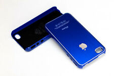 Black Aluminum Plastic Chrome Hard Cover Case for iPhone 4 4S w/ Protective Film