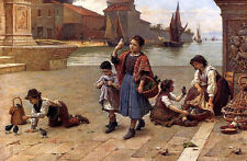 Art Oil painting The Bird Seller - Children playing with birds by the harbor