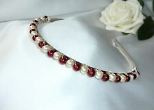 Handmade Bridesmaid Prom Burgundy/Red & Ivory Pearl tiara headband, Aliceband
