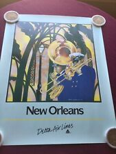 Original Vintage Delta Air Lines Travel Poster New Orleans