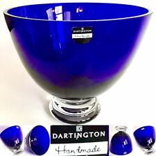 "Heavy (3.3kg) Cobalt Blue Dartington Crystal 9.5""/25cm Centrepiece Serving Bowl"