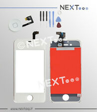 Schermo touch screen vetro retina display frame iphone 4 bianco + kit tasto home