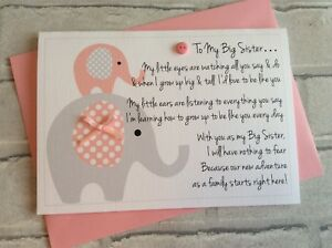 Personalised New Big Sister Card from Baby: Cute Elephants & Poem