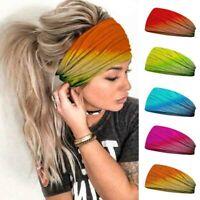 New Women Casual Tie-dye Head Scarf Headband Boho Yoga Sports Elastic Hair Band