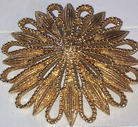 Vintage Costume Jewellery Starburst Flower Signed Large Gold Tone Brooch