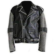 Mens Fashion Jackets Silver Studded Leather Real Soft Leather Slim Fit Jackets