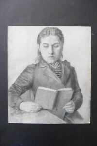 FRENCH SCHOOL 1893 - YOUNG MAN READING A BOOK - PENCIL DRAWING