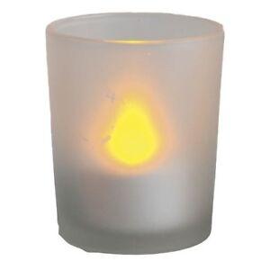 LED Windlicht flackernd an/aus pusten Glas 6,5cm Best Season 066-44