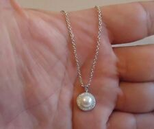 LADIES 925 STERLING SILVER NECKLACE PENDANT W/6.5MM WHITE PEARL & .50 CT DIAMOND
