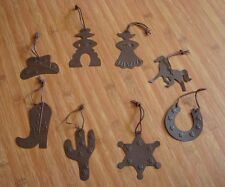 8 Large Country Western Cowboy Tin Christmas Tree Ornaments Cactus Hat Horse New