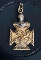 Vintage Elk's Club Maltese Cross Knight Suit of Armor Gold Pendant or Charm