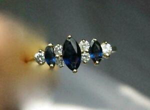 1CT Sapphire & Diamond Engagement Marquise Ring in 14K Yellow Gold Finish