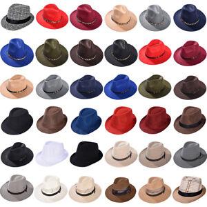 Mens Ladies Womens Straw Hat Felt Fedora Trilby Style Summer Sun Hat Party