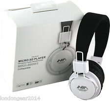 NIA MRH-8809 Micro SD/FM Radio/MP3 Player Stereo Headphones With MIC WhiteBlack