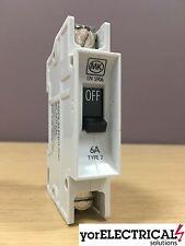 MK Sentry 6A Type 2 Single Pole Circuit Breaker SP 6 Amp MCB ~ BS 3871 ~ LN 5906