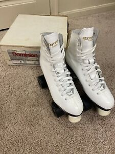VIntage Woman's Dominion Canada White Roller Skates W/ Box, Size 8- Very Clean
