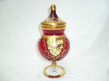 ANTIQUE BOHEMIAN / MURANO GOLD GILDED HIGH ENAMELLED RUBY GLASS 26cm LIDDED JAR