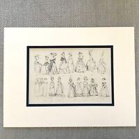 1900 Antico Stampa Storico Moda Costume Abito Donna Sfera Gowns
