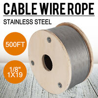 """T316 1/8"""" 1x19 Stainless Steel Cable Wire Rope (500FT) Railing Decking DIY"""