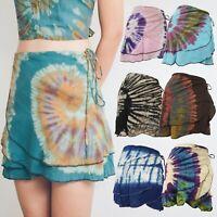 Tie Dye Wrap Around Short Skirt Beach Cover Bohemian Hippie Gypsy Lagenlook SWS