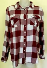 LILY LOVES Check Button Down Top Collared Rear Slit Long Sleeve Cotton Size 12