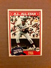 1981 Topps Fred Lynn card #720. Boston Red Sox.