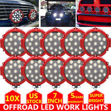 10x Offroad 7inch 51W Led Work Lights Spot Car Truck ATV Backup Driving Round