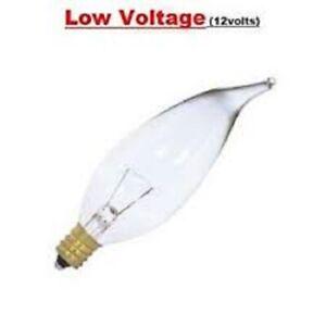 Candex 25W 12V CA10 Flame Tip E12(Candelabra Base) Lamp Clear (Pack of 10)