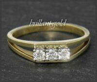 Vintage lupenreiner & River Diamant Damen Ring aus 585 Gold, 0,27ct Brillanten