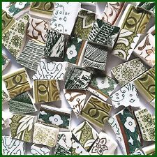 """65 BROKEN CHINA MOSAIC TILES~ 1/2"""" Green MIX Acanthus Calico Gold Flowers Lace"""