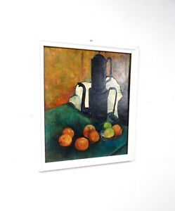 MID CENTURY MODERN FRUITS STILL LIFE PAINTING SIGNED BY HEINZ KERN 1970